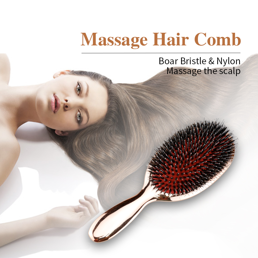 High Quality Oval Wild Boar Bristle Hair Brush Anti-static Salon Hairdresser Scalp Massage Comb Airbag Hair Brush