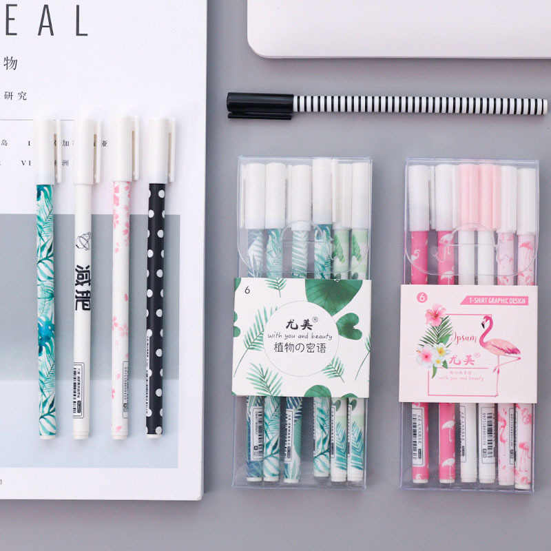 Flamingo Pens School Cactus Pen Chancellory Gel Pen Kawaii School Supplies Cute Stationery Gel Pens Papelaria 040101