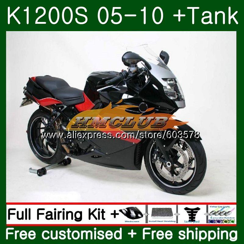 Pour BMW K 1200 S K 1200 S K1200S 05 06 07 08 09 10 38CL. 13 K1200 S K-1200S 2005 2006 2007 2008 2009 2010 Carénage Noir rouge