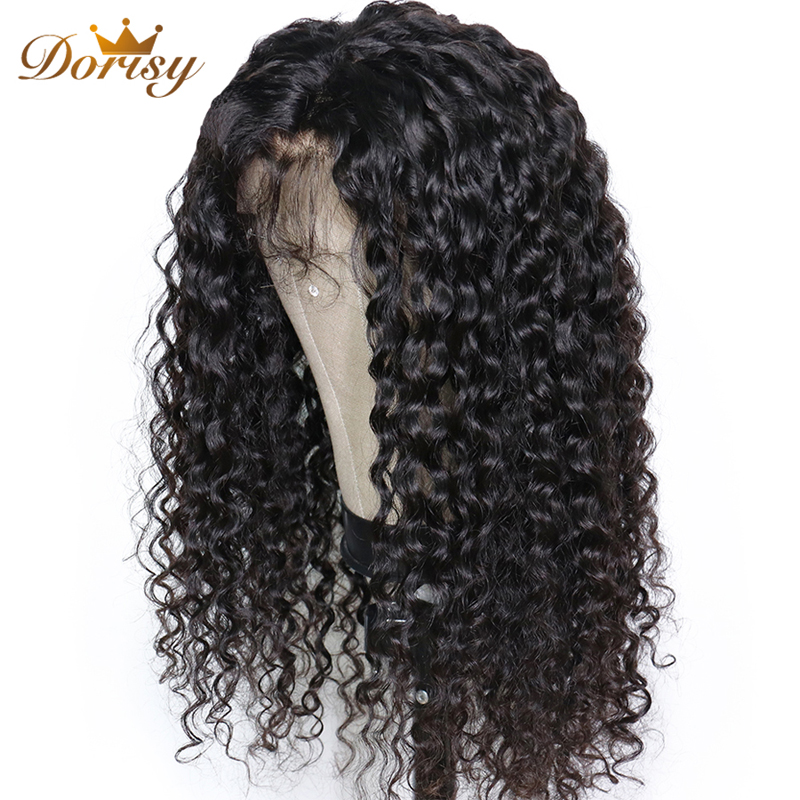 Deep Wave Lace Closure Wigs 4×4 Lace Human Hair Wigs For Black Women Non Remy Dorisy Hair Lace Closure Wigs Natural Color