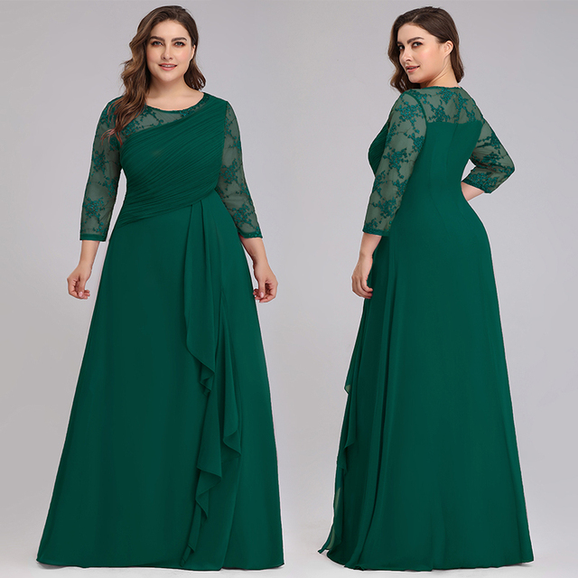 Bride Mother Dress Plus Size Evening Party Gowns 2019 Elegant Lace A-line Chiffon Long Sleeve O-neck Mother of the Bride Dresses 1