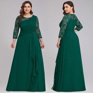 Image 2 - כלה אמא שמלה בתוספת גודל ערב מסיבת שמלות 2020 אלגנטית תחרה אונליין שיפון ארוך שרוול O צוואר אמא של הכלה שמלות