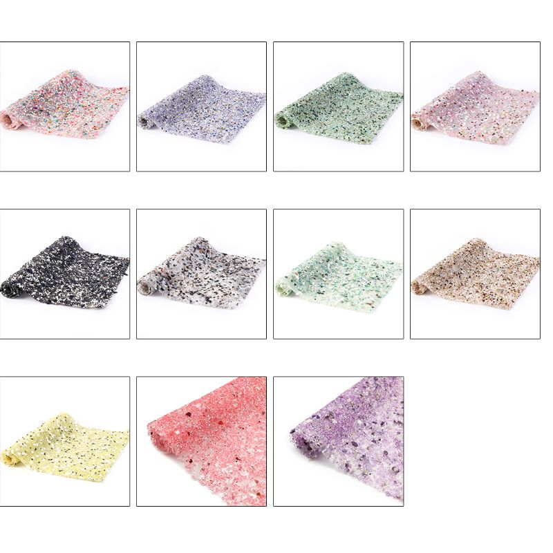 1 Sheet Colorful Stone Jewelry Beads Trims Hot Fix Glitter Rhinestone Mesh Shiny Sticker DIY Crafts Car Clothes Decor