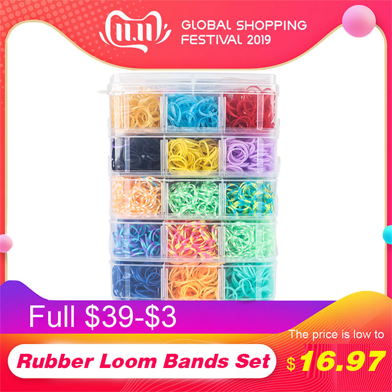 7200pc DIY Toys Rubber Loom Bands Set Kid DIY Bracelet Silicone Rubber Bands Elastic Rainbow Weave Loom Bands Toy Children Goods