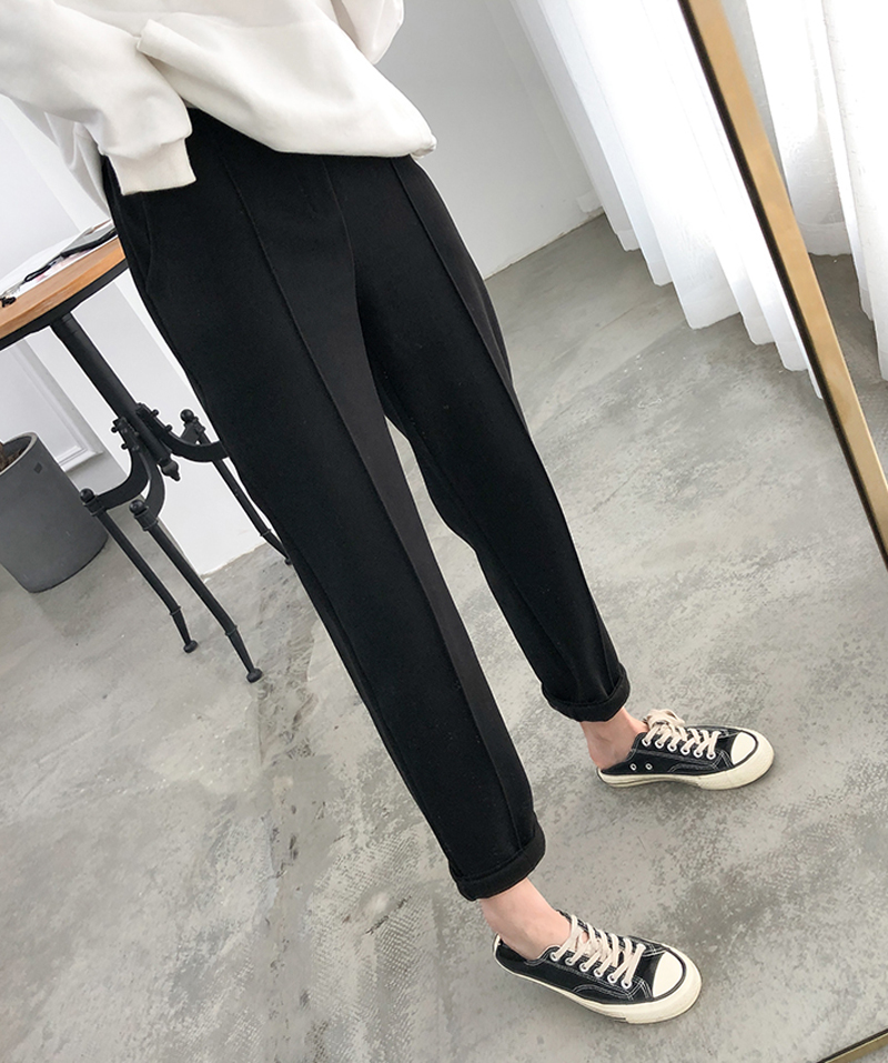 Heb6a5a7df2784684bf65614afbf26d0dZ - Thicken Women Pencil Pants Autumn Winter Plus Size OL Style Wool Female Work Suit Pant Loose Female Trousers Capris 6648 50