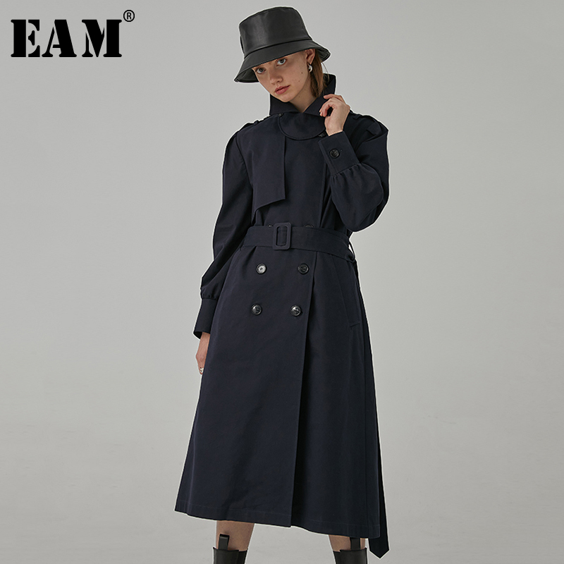 [EAM] Women Blue Split Joint Long Big Size Trench New Lapel Long Sleeve Loose Fit Windbreaker Fashion Tide Spring 2020 1R393