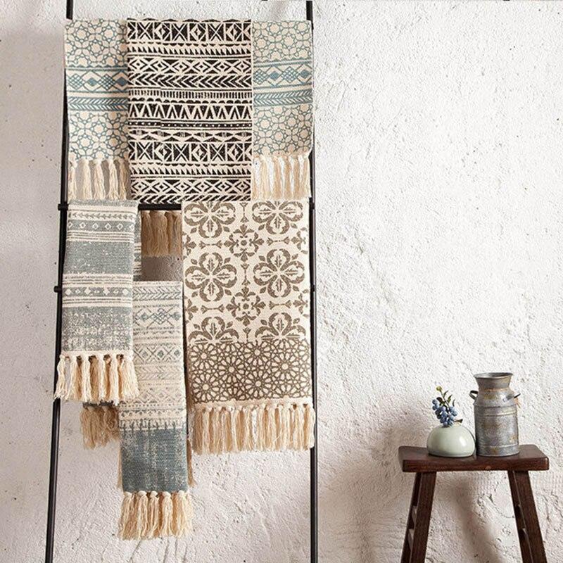 SKTEZO Cotton And Linen Woven Carpet Floor Mat Door Bedroom Tapestry Decorative Blanket Tea Table Flag Area Rug For Living Room