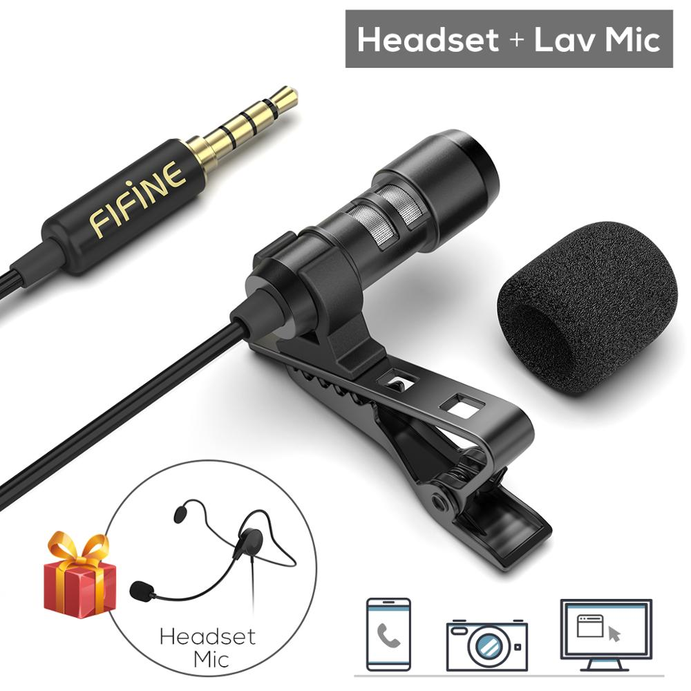 FIFINE Lavalier Lapel Microphone for Cell Phone DSLR CameraExternal Headset Mic for YouTube Vlogging Video Interview  Podcast