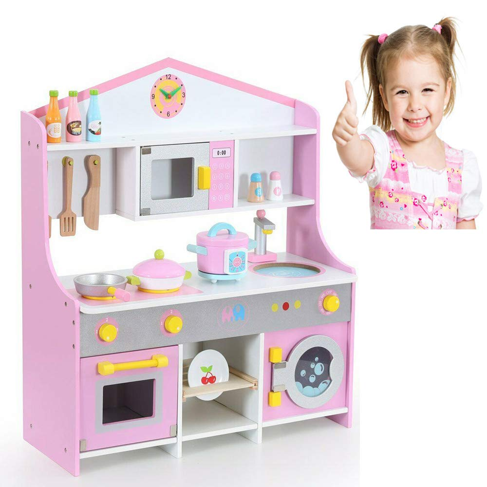 Large Children Kids Wooden Play Kitchen Cooking Toy Girls Cooker Play Set Gift (Ships To The UK)