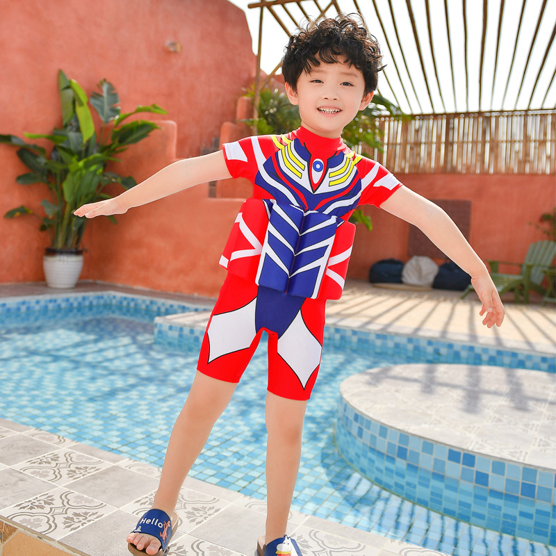 BOY'S Korean-style Bathing Suit Children One-piece Short Sleeve Sun-resistant Quick-Dry Cute Little Baby Big Boy INS Fashion Swi