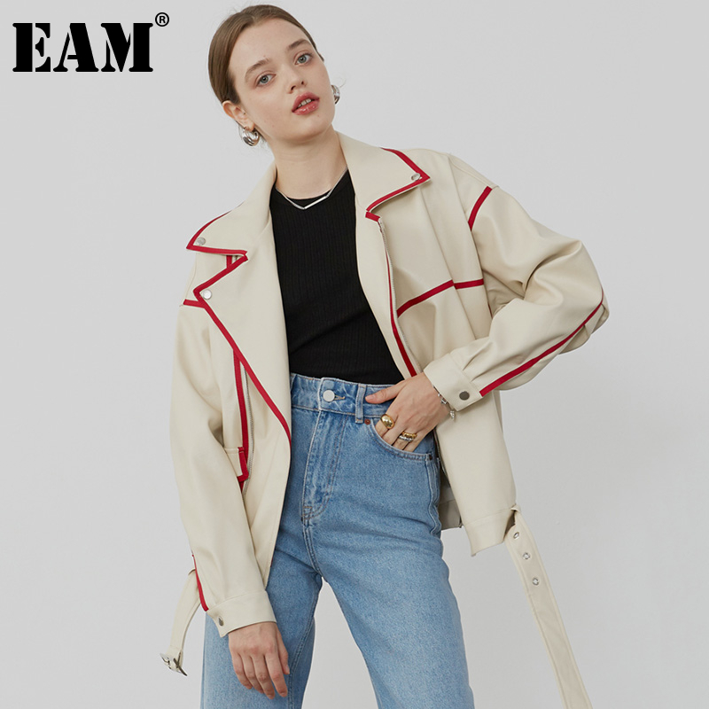 [EAM] Loose Fit Apricot Pu Leather Big Size Jacket New Lapel Long Sleeve Women Coat Fashion Tide Spring Autumn 2020 1Z682 1