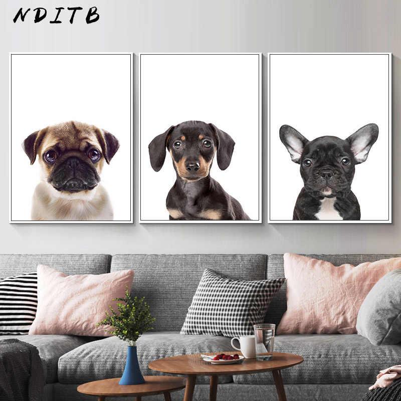 Baby mops Yorkshire Terrier pies plakat ze zwierzętami grafika do pokoju dziecięcego obraz ścienny na płótnie Minimalismt dekoracyjny obraz Home Decor