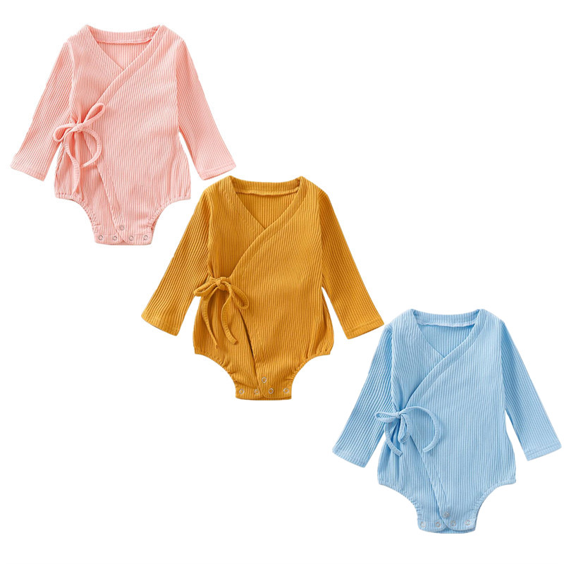 0-18M Baby Cotton Bodysuit Autumn Lovely Newborn Infant Babies Girl Boy Solid Kimono Bodysuits Long Sleeve Cotton V-neck Outfits