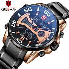 KADEMAN Роскошные Брендовые мужские светодиодный часы с двойным дисплеем мужские военные спортивные часы водонепроницаемые кварцевые наручные часы Relogio Masculino
