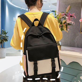 Teen School Bags for Girls Backpack Women Bag School Patchwork Nylon Solid Student Bookbags Female Teenage High Schoolbag Preppy