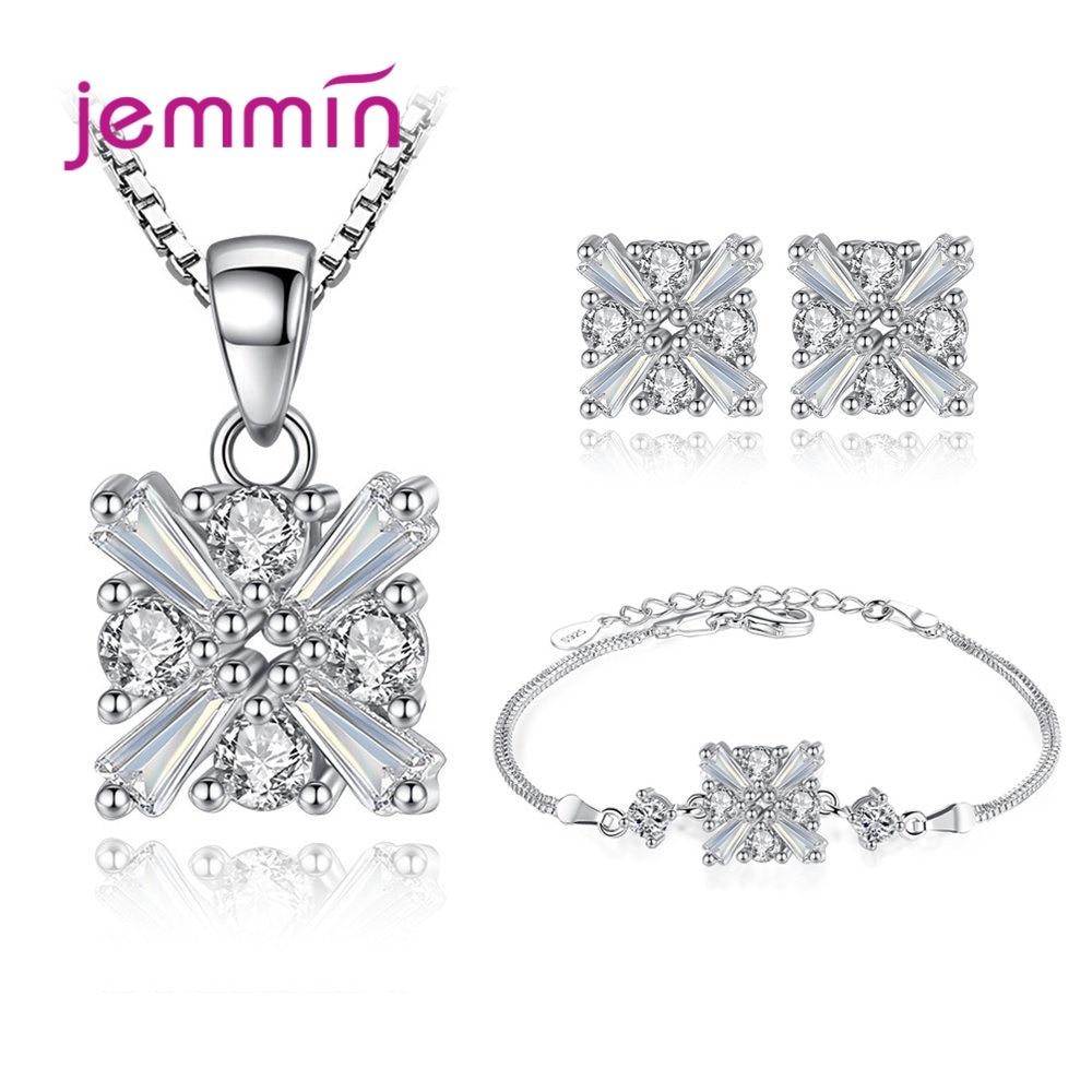 S925 Sterling Silver Square Set For Women Girls Theme Party Decoration Necklace Earring Bracelet Cubic Zirconia Set 3Pcs/Set