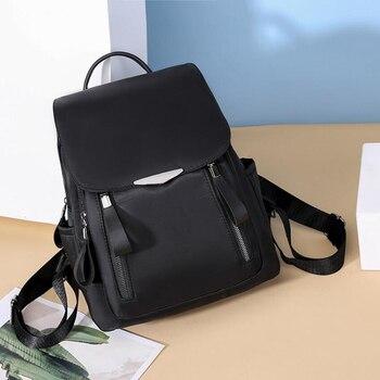 2020 Casual Backpack Women Black Waterproof Ladies School Multi-function Small Bagpack Oxford Tote Hard Handle