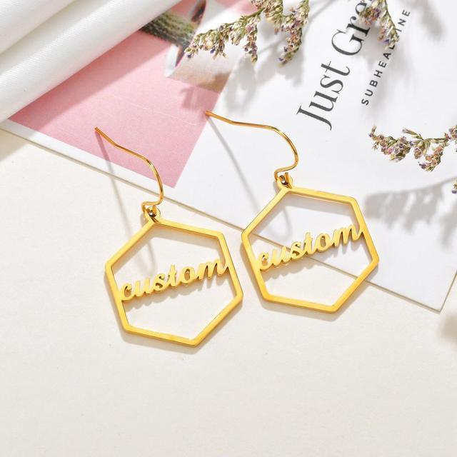 Diamante de alta qualidade personalizado nome brincos de ouro personalizar namplate brinco feminino jóias de aço inoxidável presente festa 5