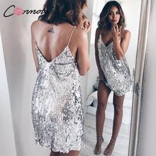 Deep V Neck Silver Sequined Backless Sexy Dress Women Off Shoulder Mini Dress Short Christmas Party