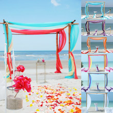 1pcs 1.35M x 10M Bruiloft Decor Sheer Mirror Organza Roll Wedding Achtergrond Stoel Sash Bow Tafelloper swag(China)