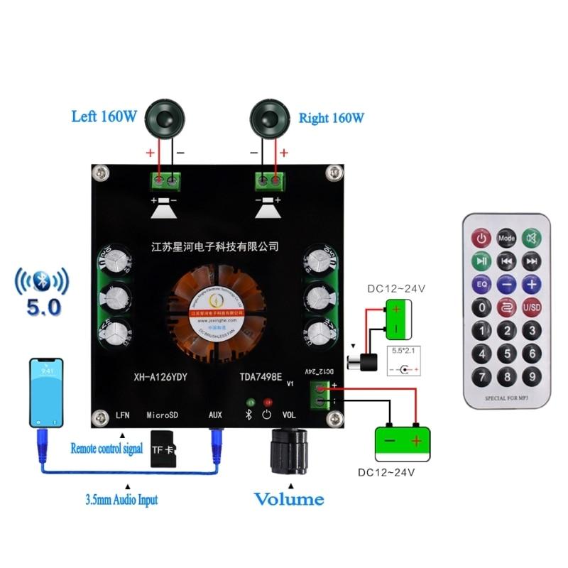 Цифровой усилитель мощности XH-A126 160Wx2 Bluetooth 5,0, плата, Стерео усилители TDA7498E, AUX TF усилитель, пульт дистанционного управления 12 В 24 В