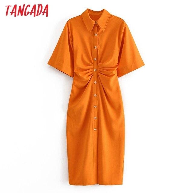 Tangada fashion women solid orange tunic dress short sleeve elegant ladies midi dress vestidos 3H906 1