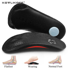 KOTLIKOFF Leather Orthotic Insoles orthopedic Flat Feet Heel Pain Arch Support For Man Woman Business Shoe insoles sole Insert