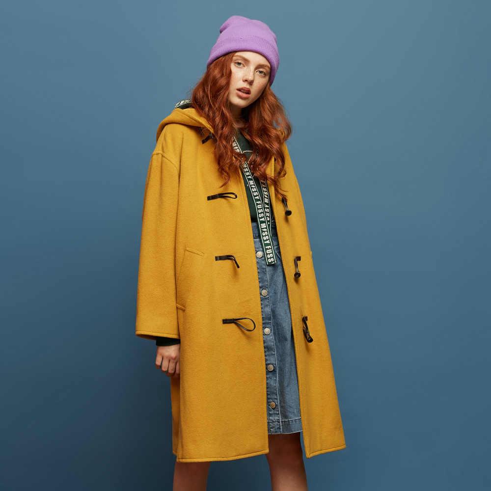 Metersbonwe女性ウールコート上着冬服オフィス女性のコートのファッション暖かいウールブレンドエレガントなコート 739545