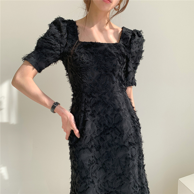Vintage Square Collar Elegant Short Sleeve Backless Dress truly a classic 5