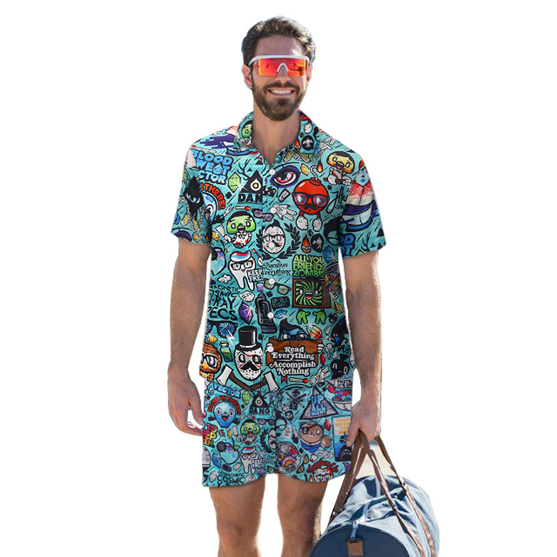New Cartoon Printed Shirt Shorts Men Set Summer 2020 Hawaii Casual Short-sleeve Loose Beach Sets Suit 2 Piece Vetement Homme