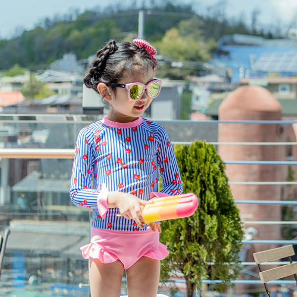 Korean-style CHILDREN'S Surf Clothes Bathing Suit GIRL'S Baby Cute Princess Girls Split Type Triangular Long Sleeve Hot Springs