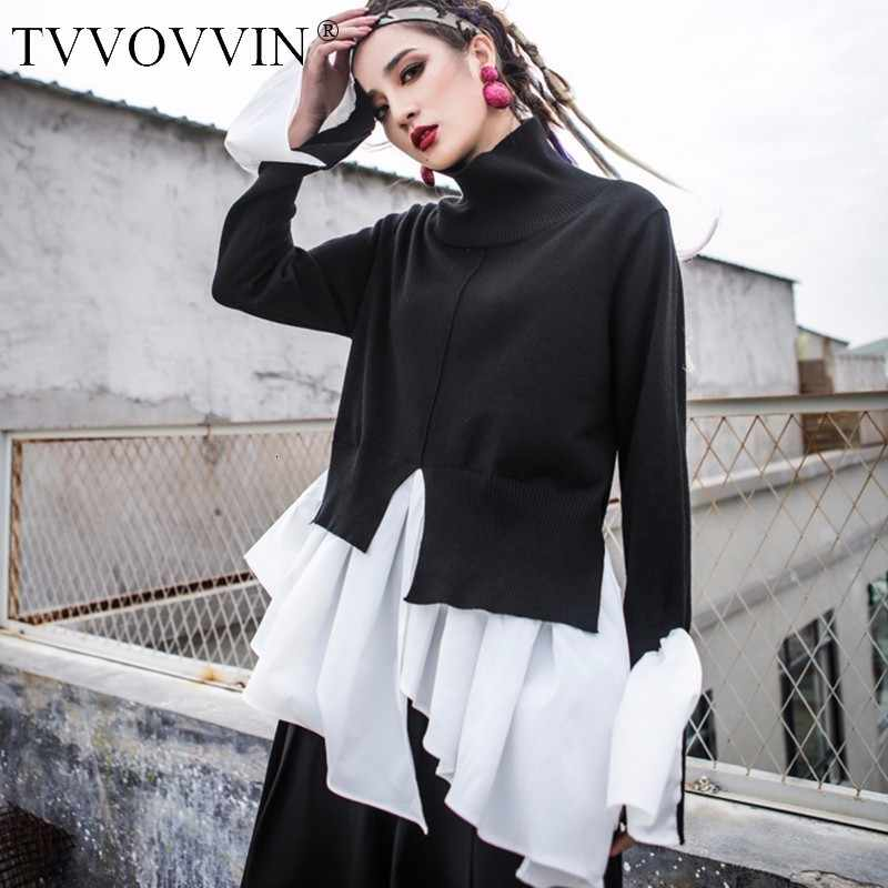 TVVOVVIN Patchwork Knitting Pullover Female Turtleneck Irregular Split Draped Flare Sleeve Tops 2019 Spring Clothing  Q682