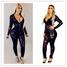 Black Sequin Jumpsuit Women Long Sleeve Sparkly Bodycon Jumpsuits Sexy Rompers Glitter Club Party Jumpsuits Overalls for DJ danc(China)