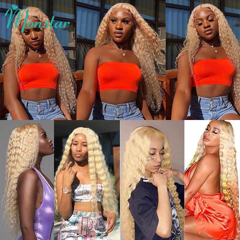 Monstar 613 blond kolorowe brazylijski włosy wyplata zestawy z zamknięciem Remy pasmo ludzkich włosów głęboka fala bez zapięć wysyłka