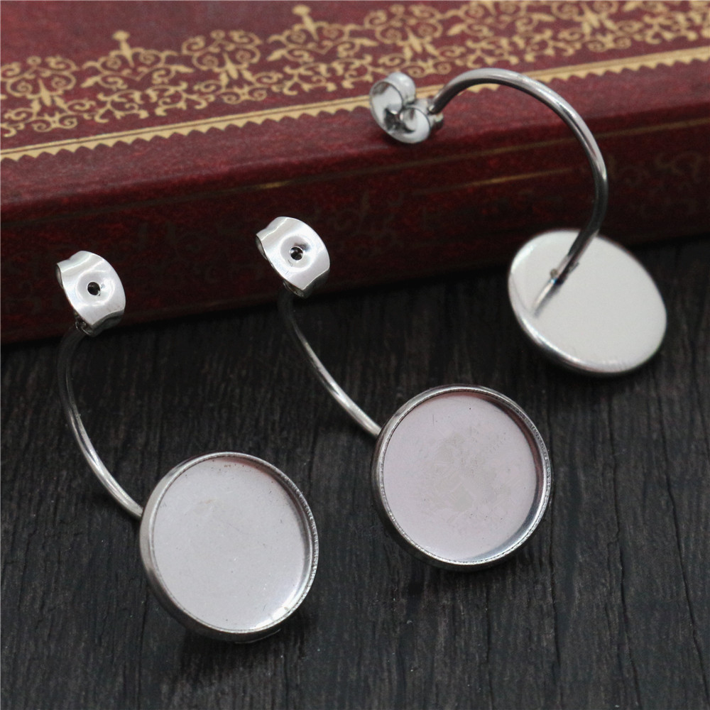 ( No Fade ) 12mm 10pcs Stainless Steel Back Style Lever Back Earrings Blank/Base,Fit 12mm Glass Cabochons,Buttons-T7-34