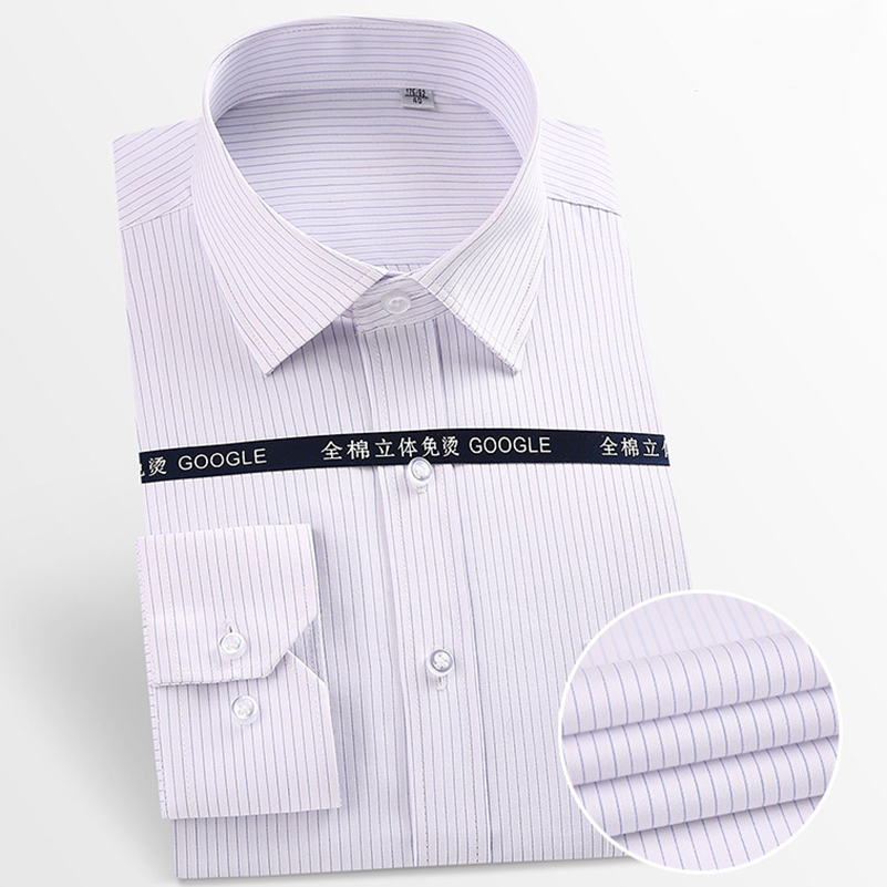 Social Men's Pure Cotton Dress Shirt Anti-Wrinkle Long Sleeve Pocket Easy Care Smart Casual Male Shirts Striped White  Purple
