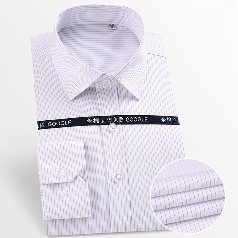 Social Men's Pure Cotton Dress Shirt Anti-Wrinkle Long Sleeve Pocket Easy Care Smart Casual Male Shirts Striped White  Purple