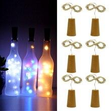 6шт/лот пробки RGB светодиодные строки водонепроницаемый рождественский подарок праздник бутылка полосы света украшения