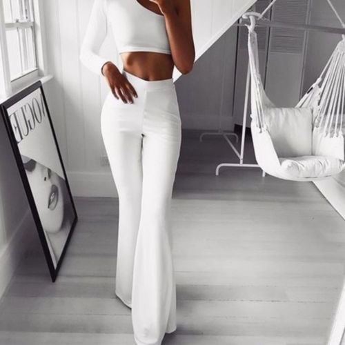 2020Women's New Casual Retro Plain Palazzo Solid High Waist Flare Wide Leg Chic Trousers Slim Long Loose OL Work Pants Plus Size