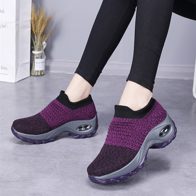 New 2019 Summer Women Sneakers Fashion Breathable Mesh Casual Shoes Platform Sneakers For Women Black Sock Sneakers Shoes