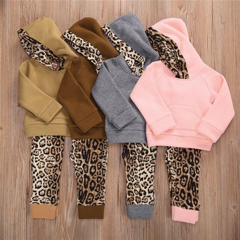 Осенне-зимняя теплая одежда для маленьких мальчиков и девочек 2020, хлопковые комплекты одежды для девочек, Топ с длинным рукавом и леопардов...