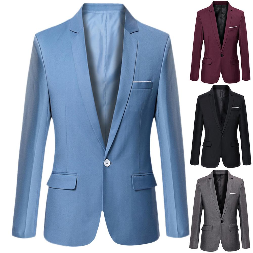Men's Long Sleeve Lapel Suit Jacket Fashion Business OL Workwear Casual Slim Button Buckle Top