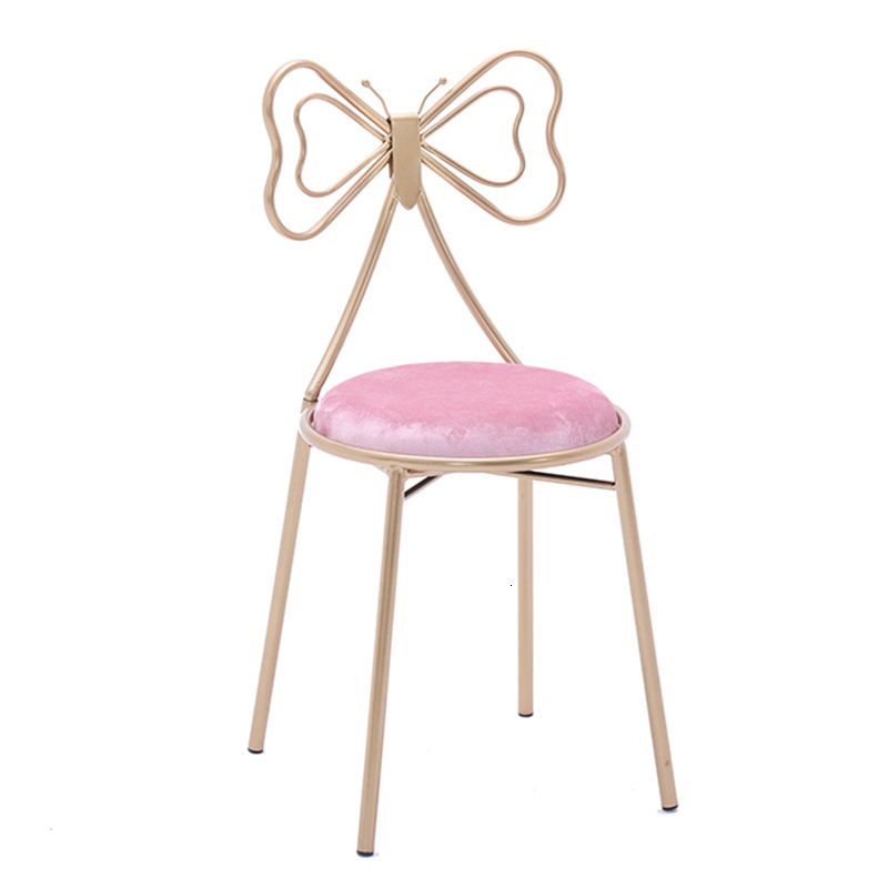 Makeup Stool European Modern Beautiful First Stool Makeup Chair Dressing Bench Iron Art Dressing Chair Backrest Makeup Stool
