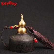 Latón hueco calabaza cordón coche Borla colgante cuerda hebilla DIY accesorios Vintage Feng Shui llavero con anilla joya colgante para regalo