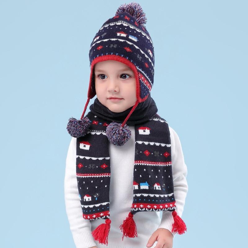 Boy Hat Scarf Set Winter Earflap Beanie Fleece Autumn Warm Pompon Dobby Skiing Outdoor Accessory For Kid Baby
