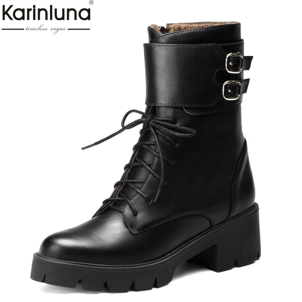 Karinluna 2019 big Size 43 top Kwaliteit Street Style Schoenen Vrouw Vierkante Hakken Leisure schoenveters vrouwelijke Laarzen Vrouwen Enkellaars