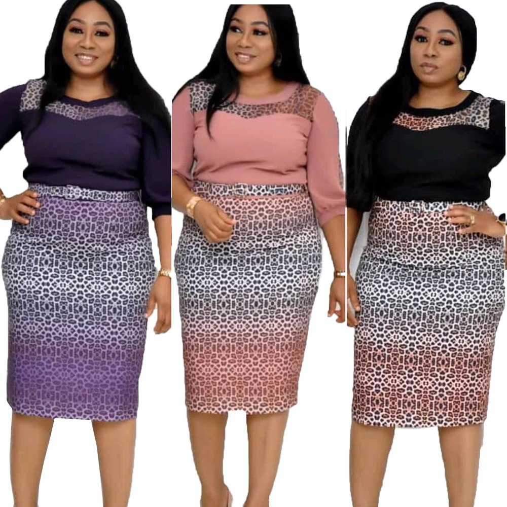 2020 Spring And Summer African Women O-neck Printing Polyester Plus Size Knee-length Dress L-3XL