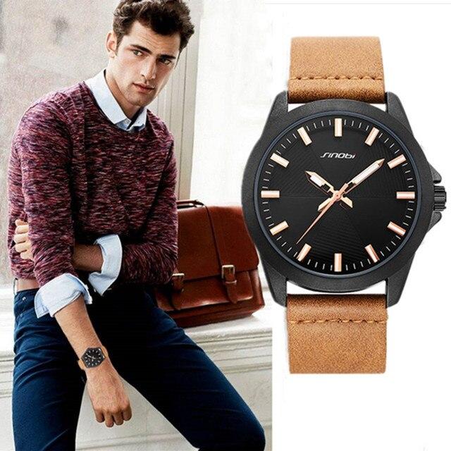Новые мужские часы SINOBI 2020, простые спортивные военные часы, мужские роскошные брендовые модные повседневные коричневые кожаные кварцевые наручные часы