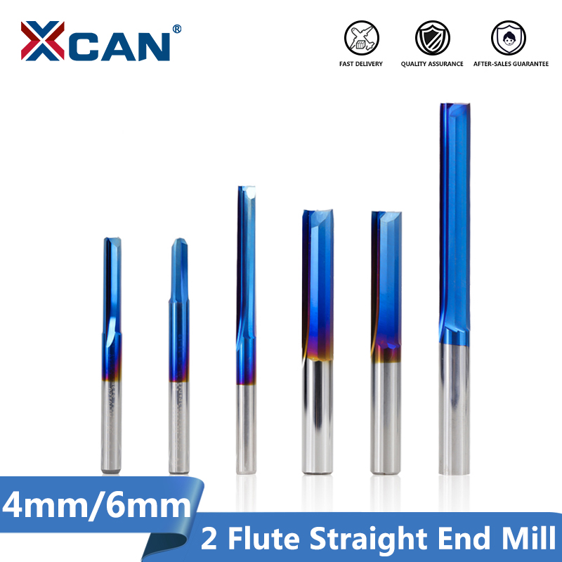XCAN 1pc 4mm/6mm Shank Nano Blue Coated Straight End Mill Carbide Milling Cutter For Wood, PVC, Plastic CNC Engraving Router Bit