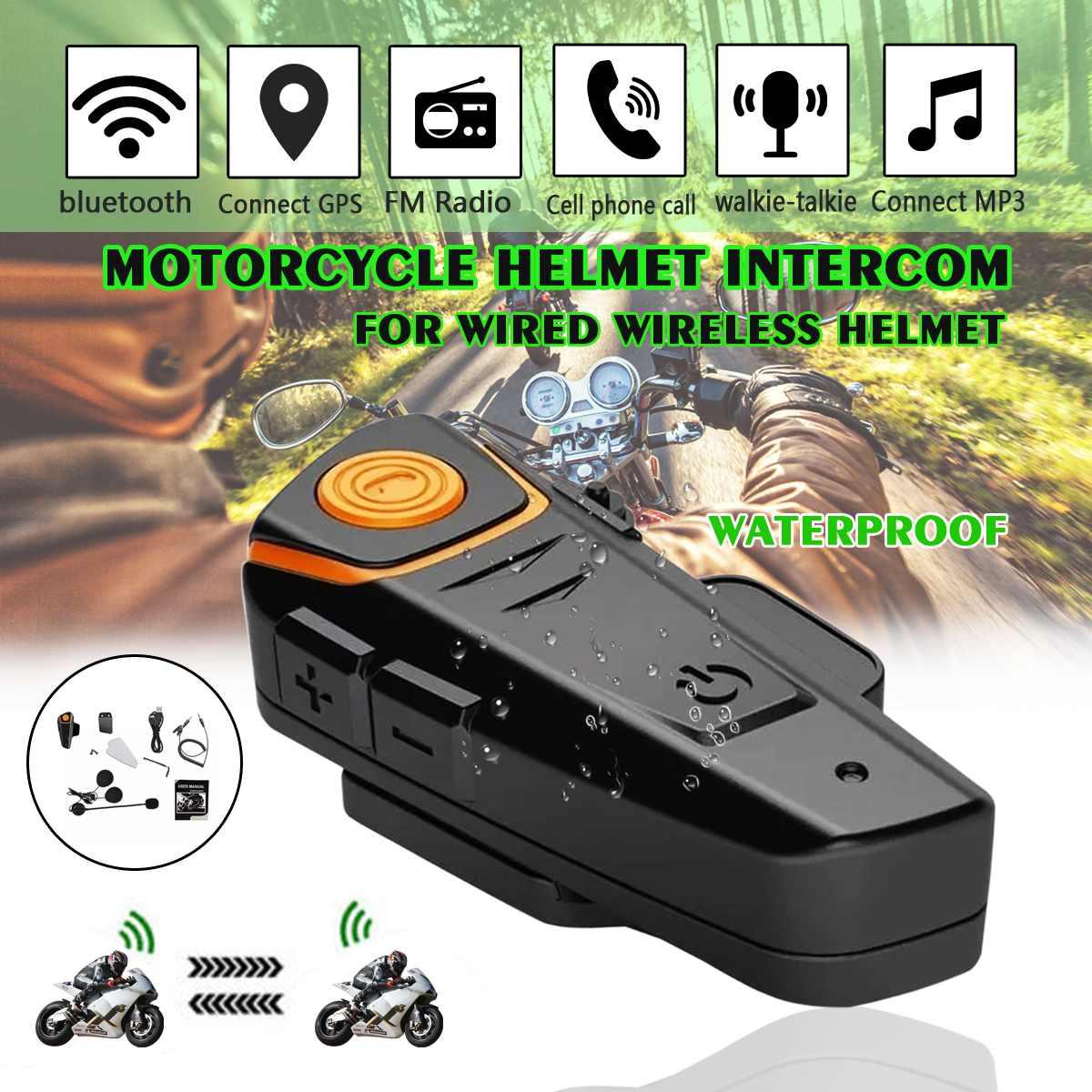 Waterproof BT-S2 Multi BT Interphone 1000M Motorcycle Bluetooth Helmet Intercom Intercomunicador Moto Interfones Headset FM MP3